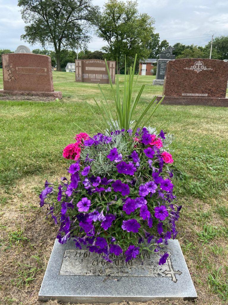 Flower pots at gravesite