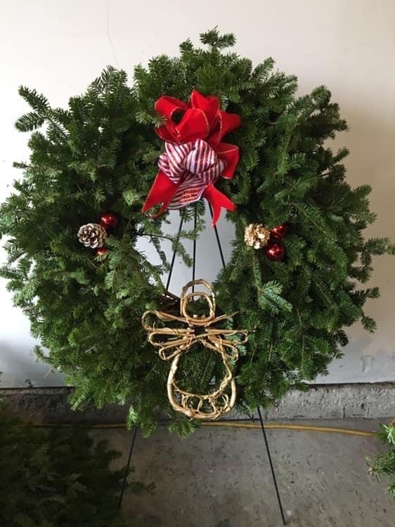 wreath with decorative angel